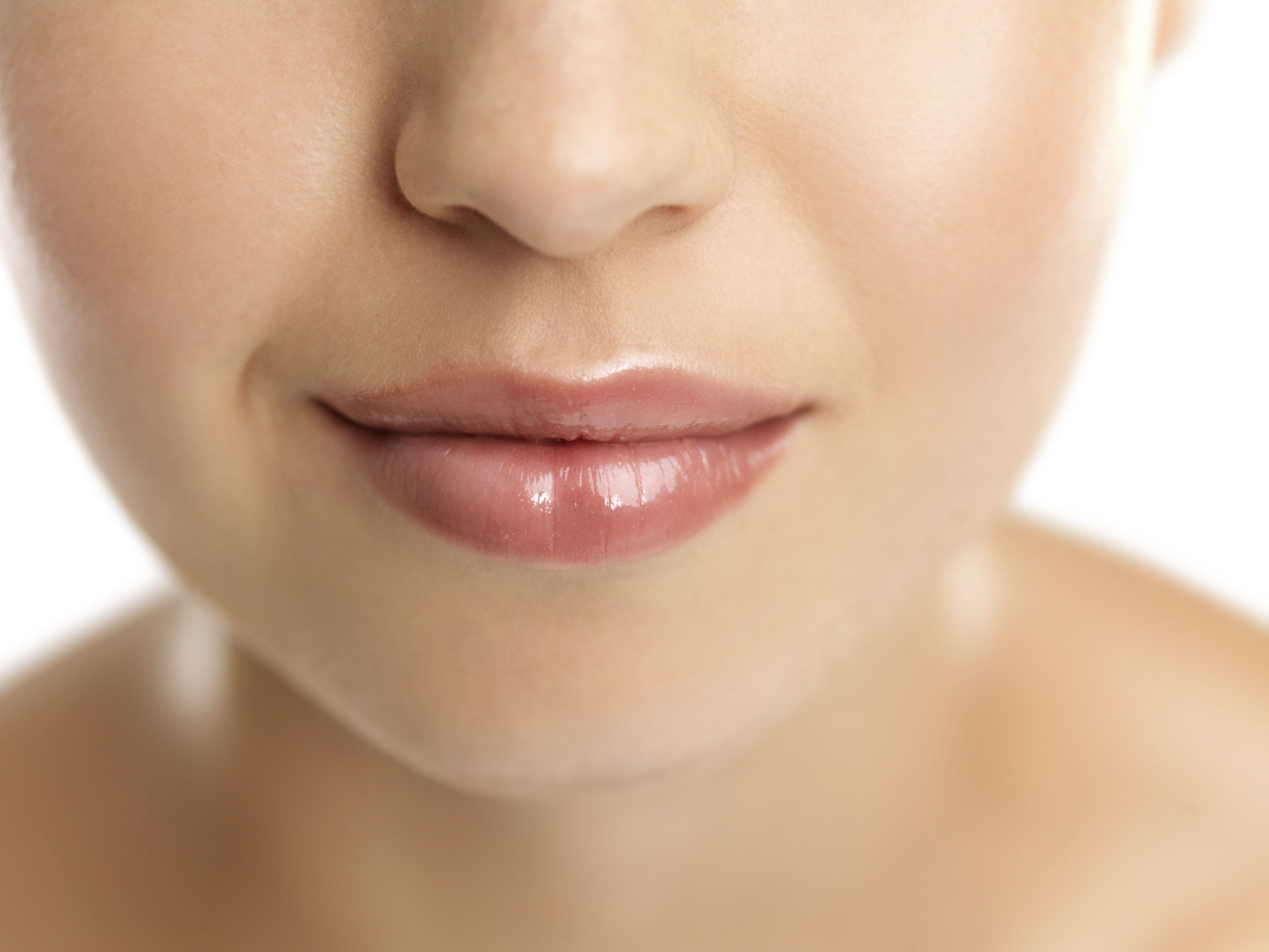 Woman with smooth, firm skin on the mid and lower face
