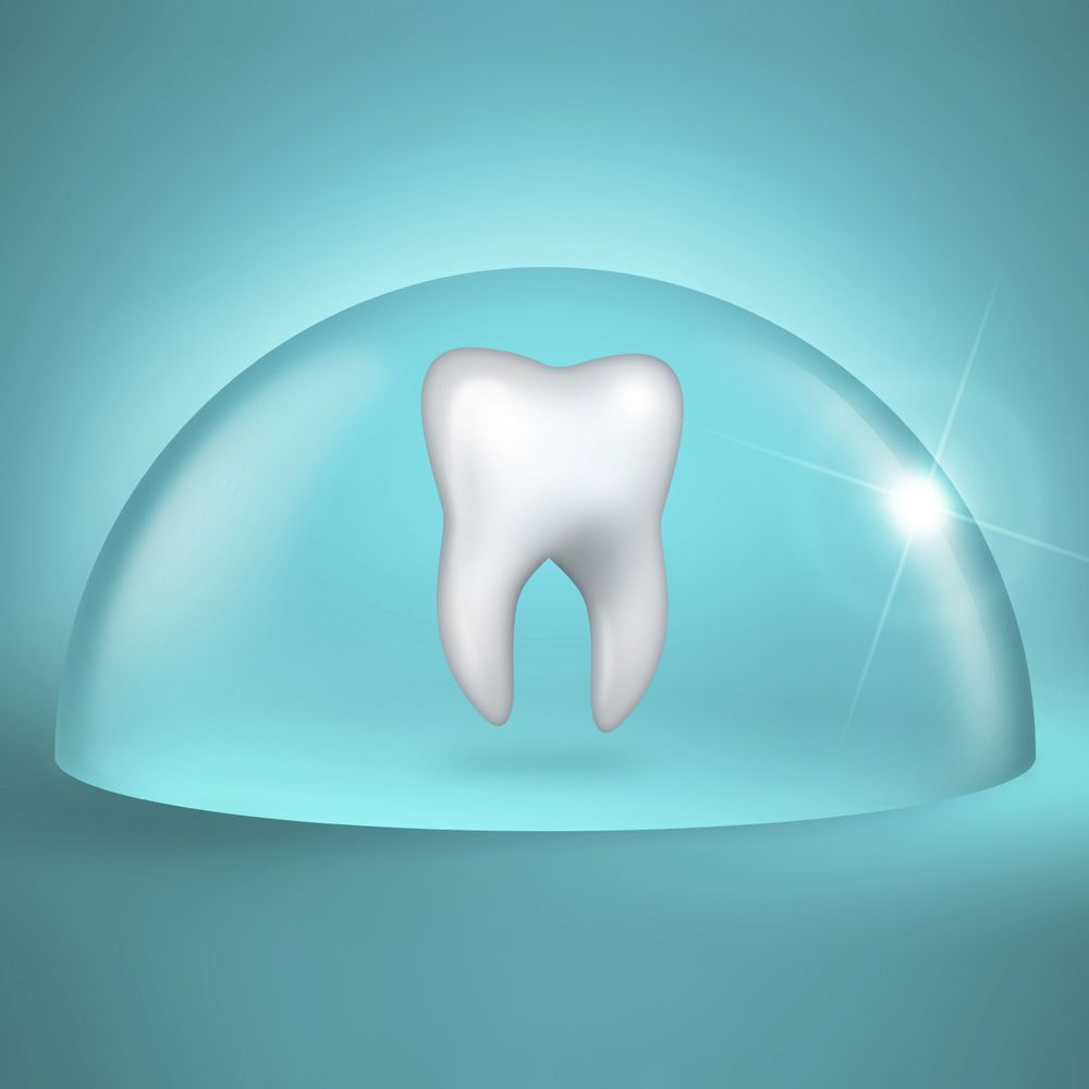 A tooth in an isolated glass dome