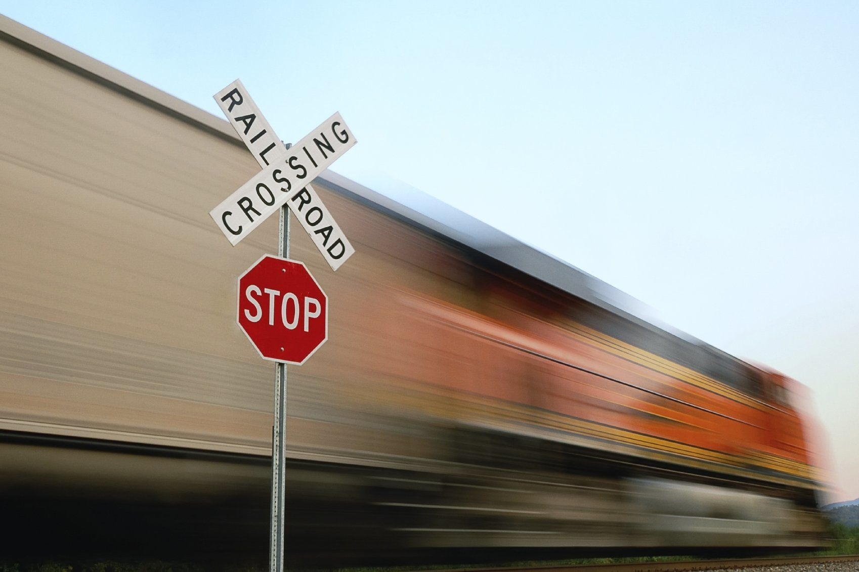 Photo of a train driving