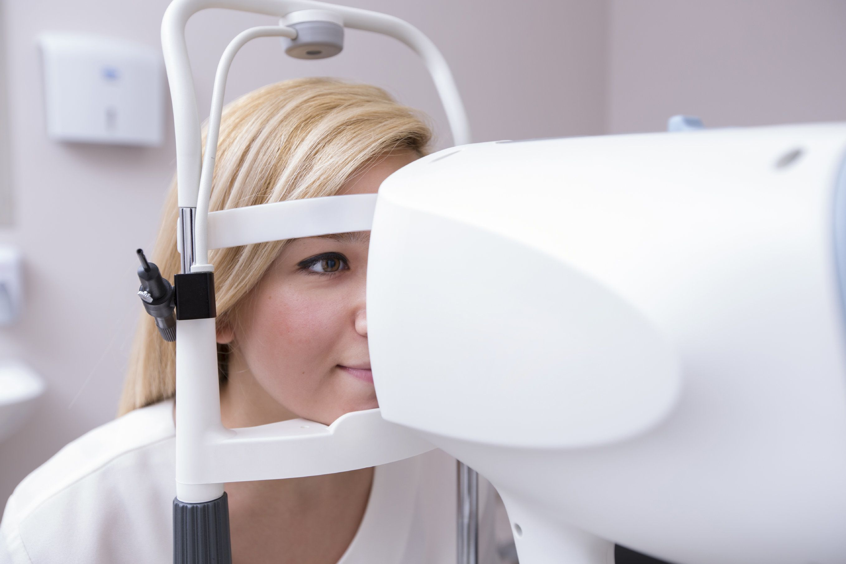 Patient at an eye exam