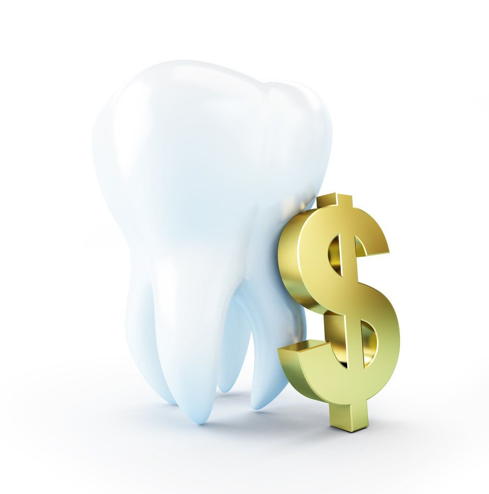An illustration of a tooth with a golden dollar sign leaning up against it, symbolizing dental financing