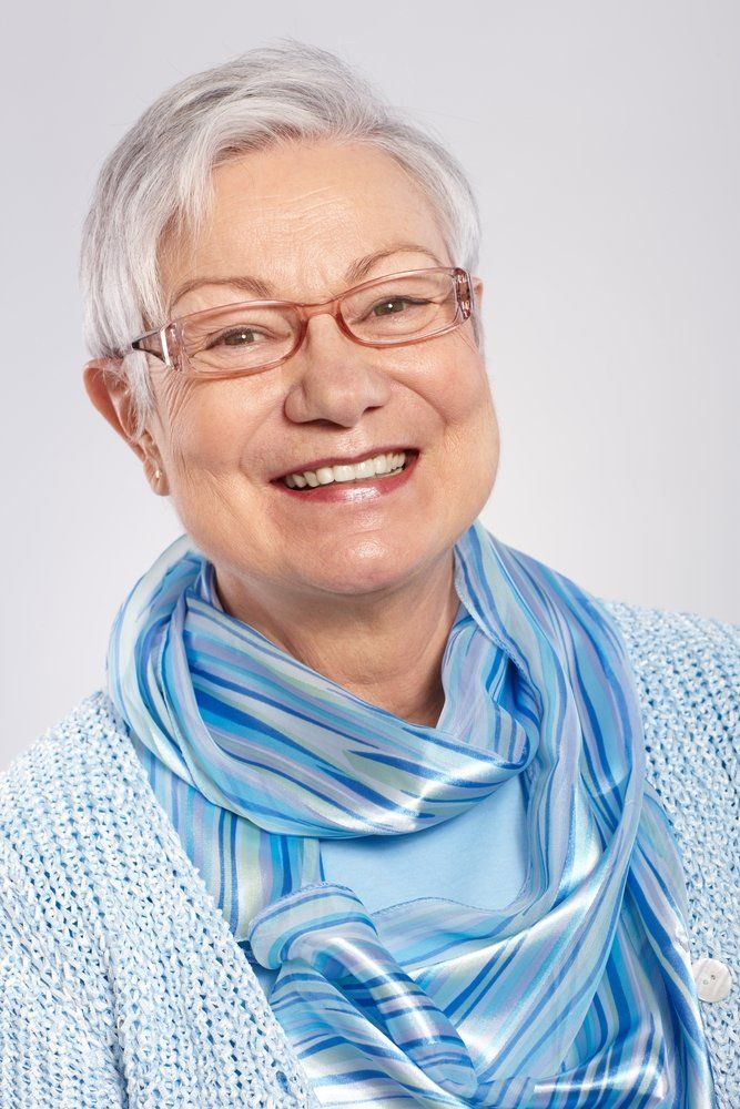 Senior female wearing glasses