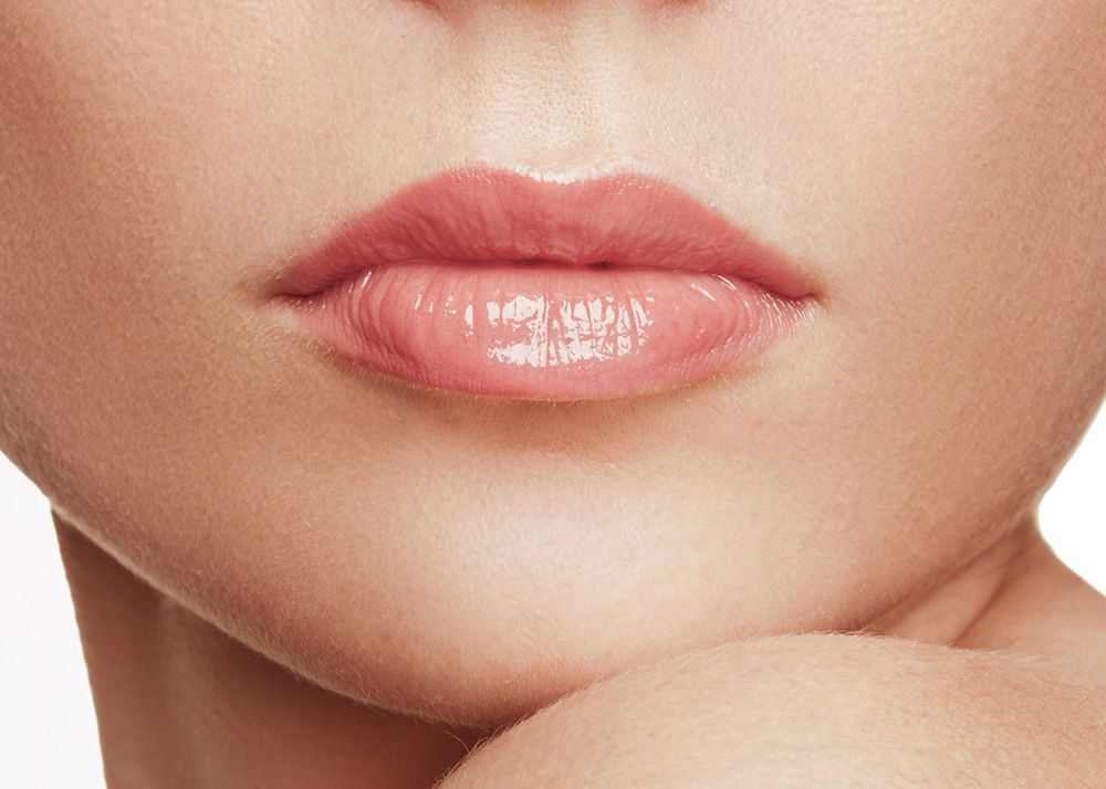 A close up of full and plump lips