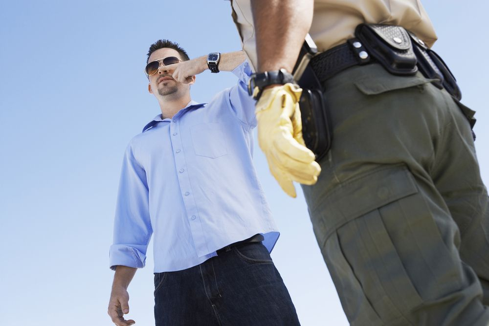 A field sobriety test during a traffic stop