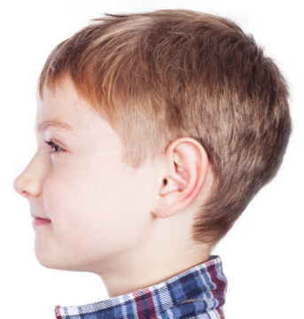 Side profile of young boy with short hair