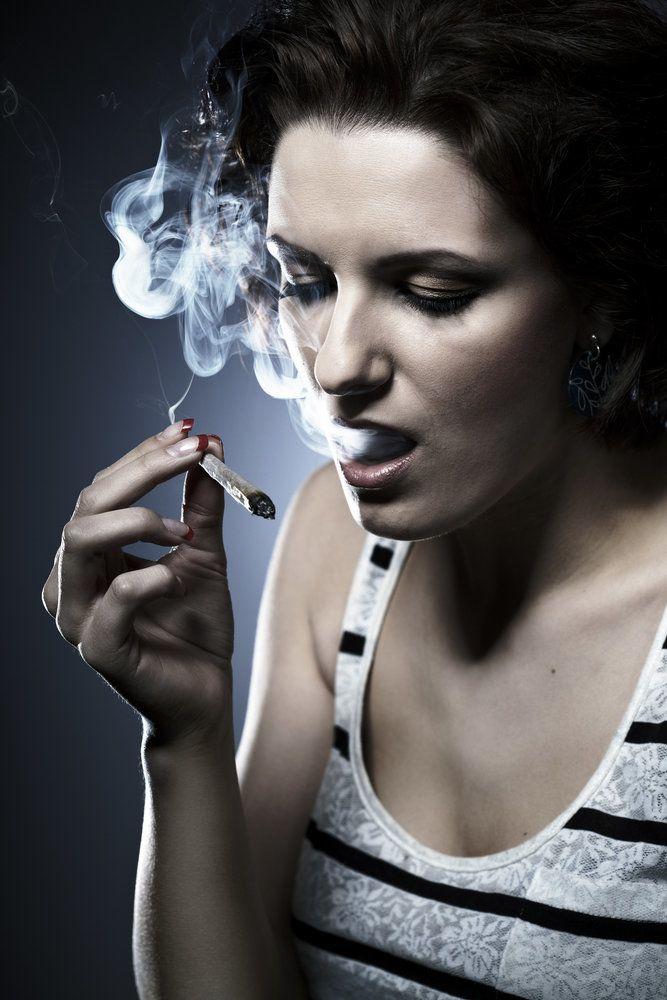 A woman smoking pot