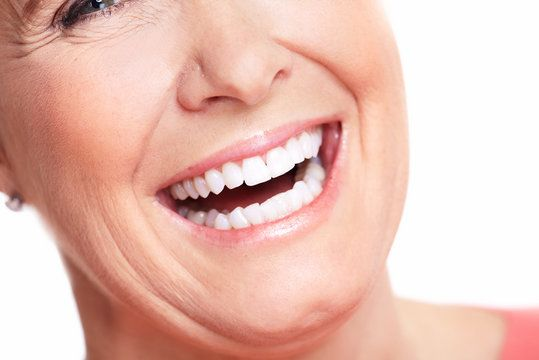 Lauging lady with white teeth