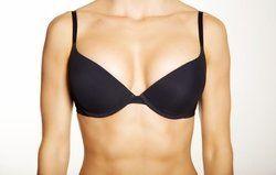A woman in a black bra