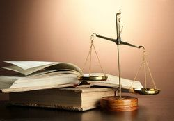 Law books and justice scales