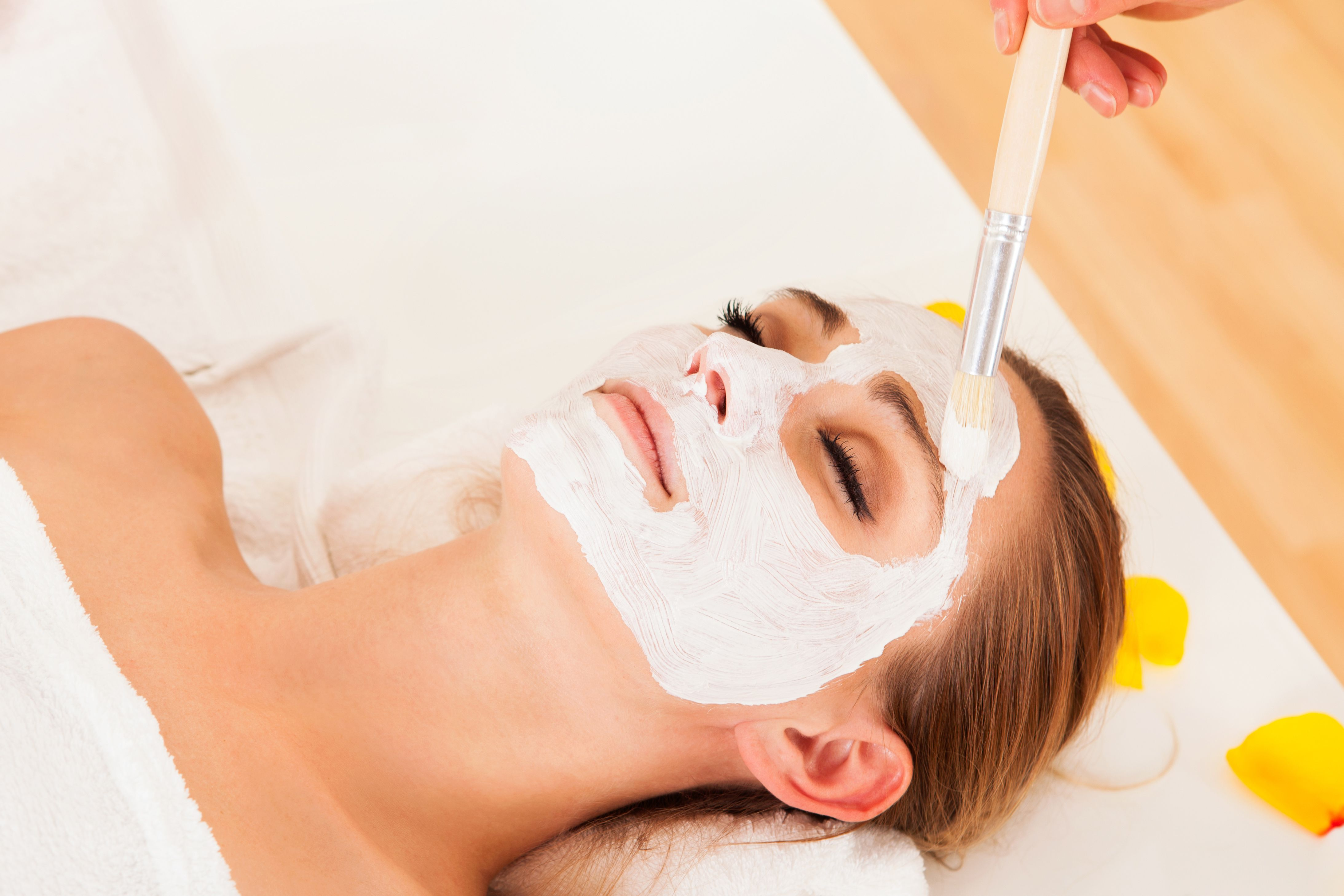 A chemical peel solution applied to the face