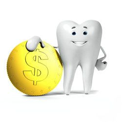 A smiling cartoon tooth standing with his arm draped over a gold coin embossed with a dollar sign