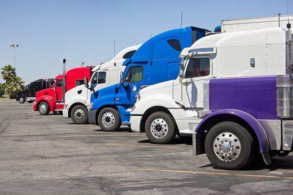 Semi-trucks in parking lot