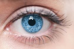 Close up image of woman's blue eye
