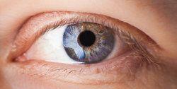 Macro image of man's blue eye