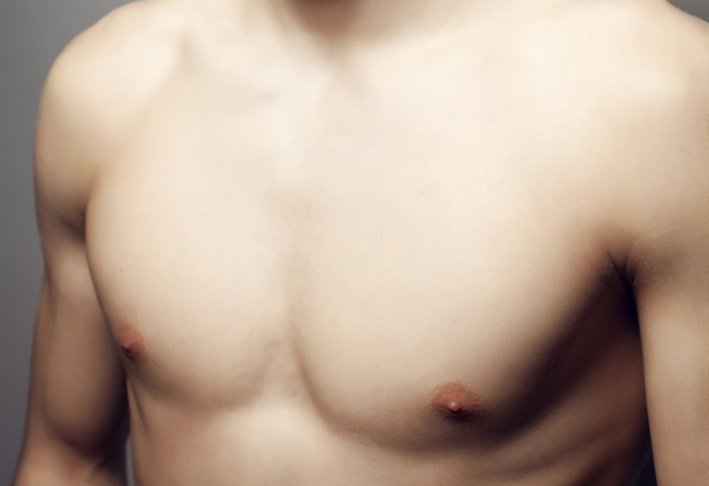 A man's pectoral muscles