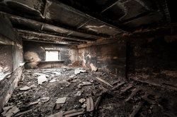 The interior of a home that has suffered damage due to a fire