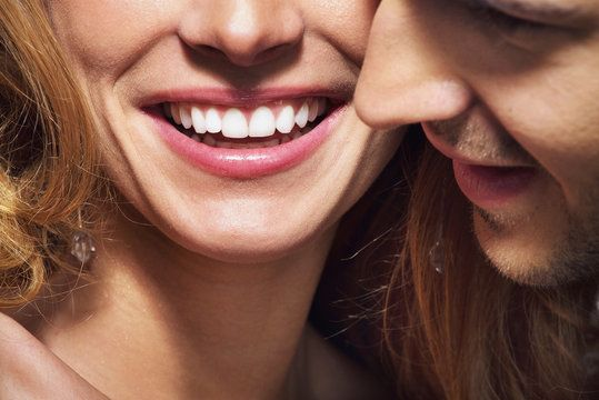Close up of couple's smiles