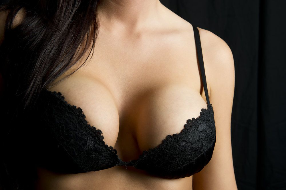 Woman in a black bra
