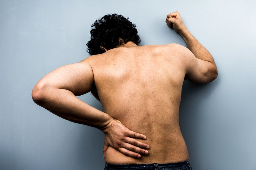 A man with an injured lower back