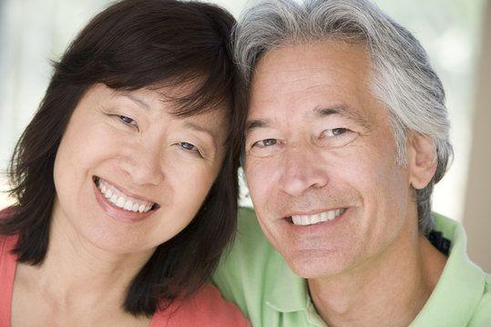 A couple shares a smile