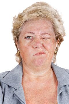 woman with facial spasm