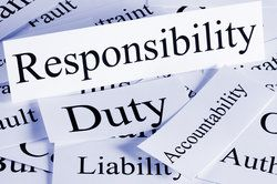 "Cards with words such as ""responsibility"" and ""duty"" typed upon them, related to premises liability"