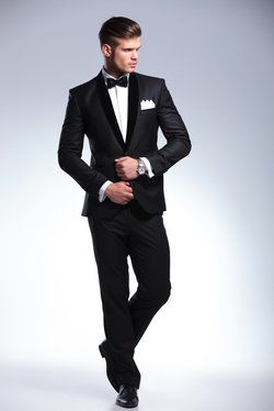 Male model wearing stylish black tie tuxedo