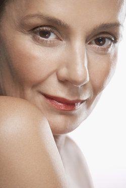 Portrait of beautiful woman wearing lipstick