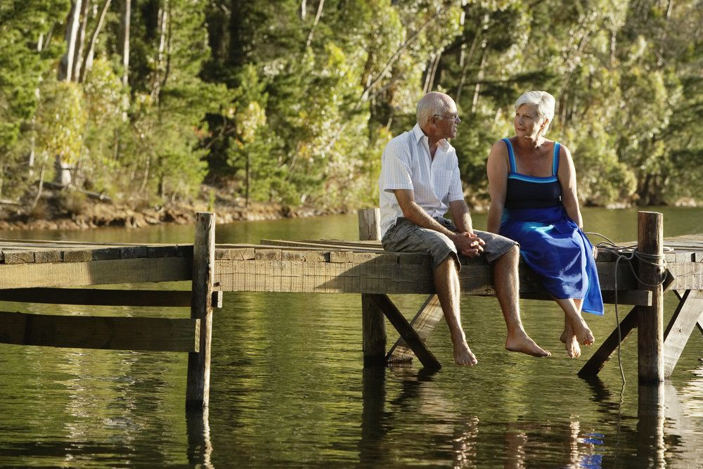 Older couple at end of dock