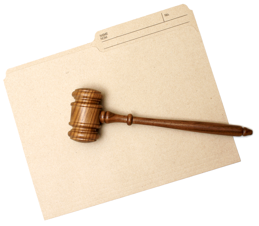 A gavel and a file folder