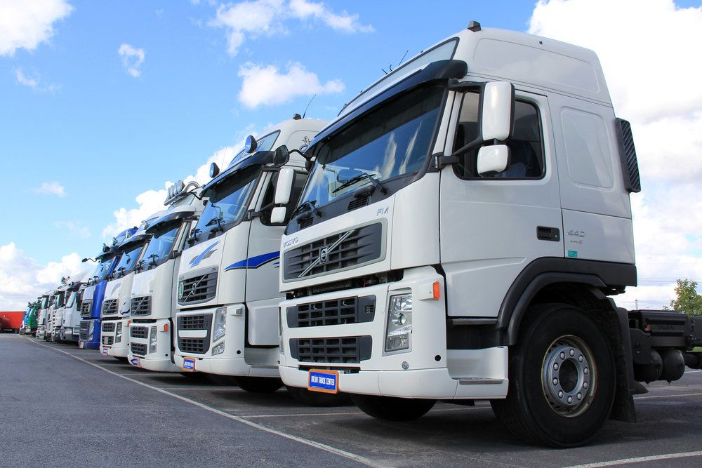 A fleet of commercial trucks