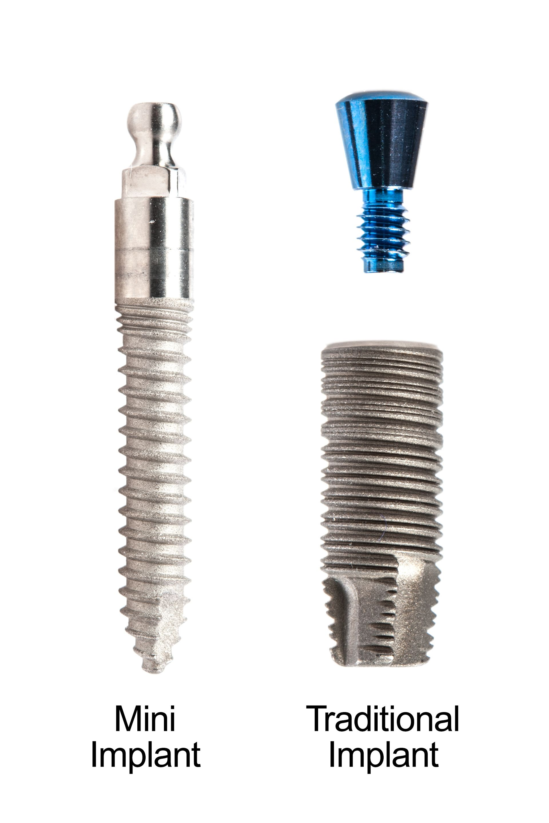 A mini dental implant and a traditional dental implant