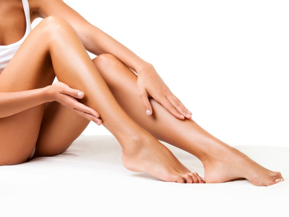 A woman with smooth, hair-free legs