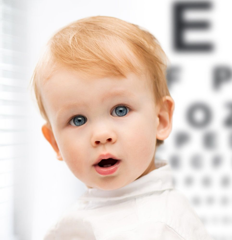 Toddler posing in front of eye chart