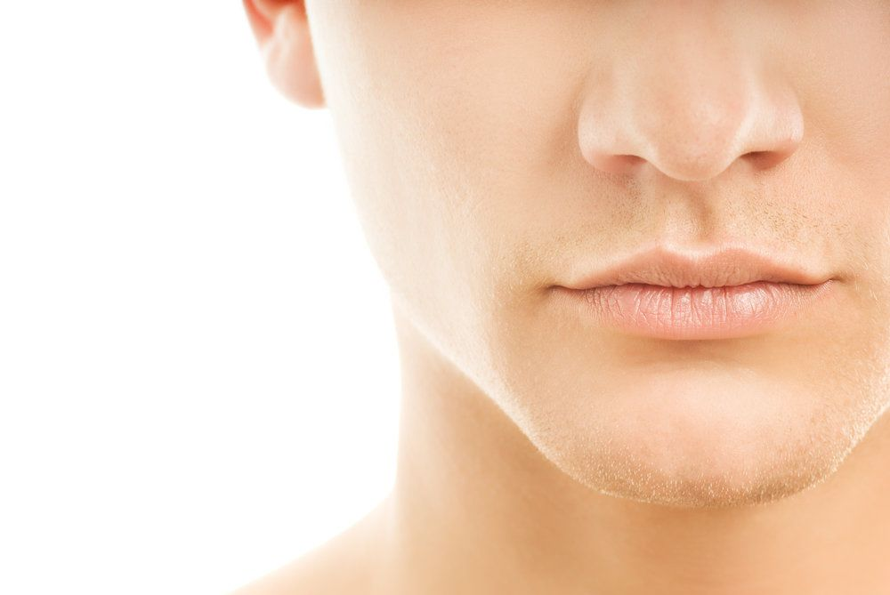 Close up of attractive man's chin and nose