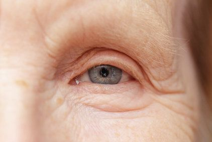 A closeup view of an elderly woman's eye.
