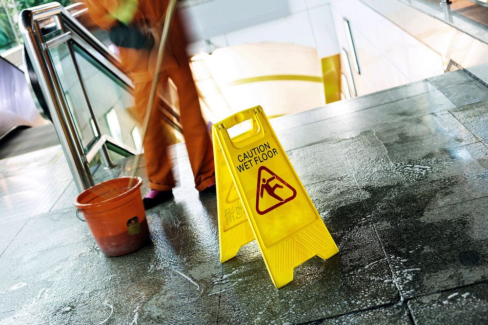 A wet floor at a business