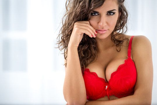 woman in red bra