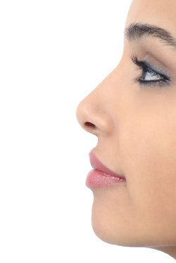 Side profile of woman's attractive and proportionate features