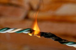 burning electrical cord