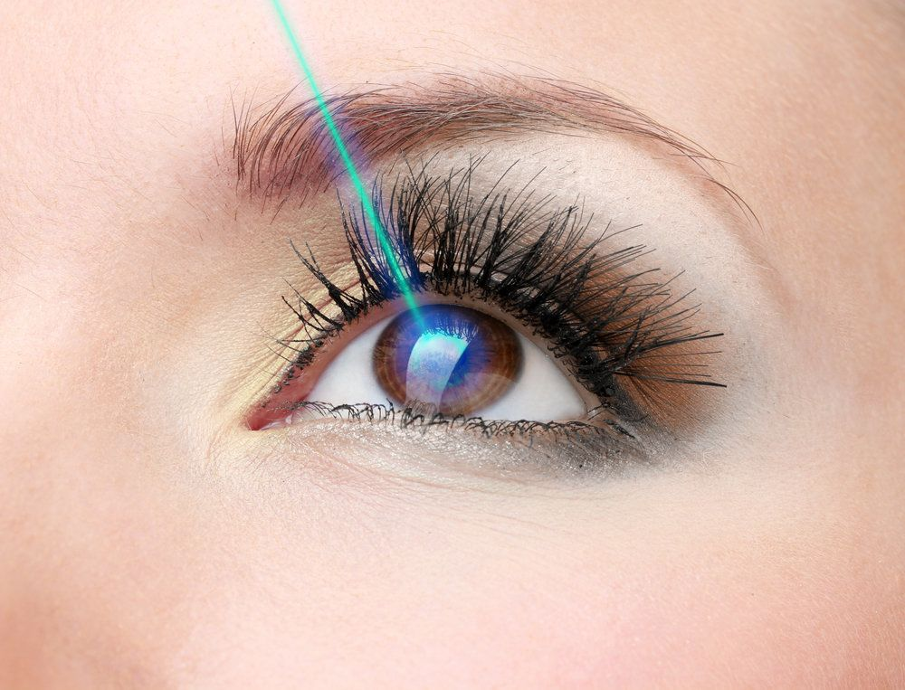 A laser light focused on an eye, as in LASIK surgery