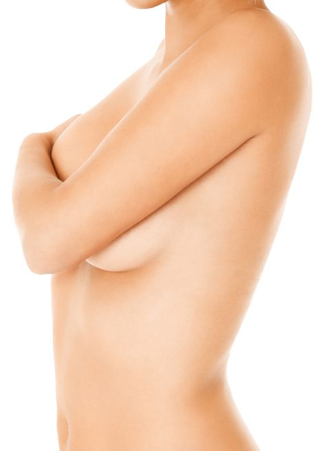 A topless woman concealing her breasts