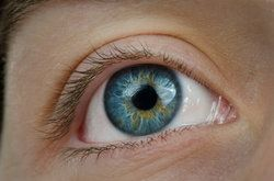 Close up of bright blue and hazel eye