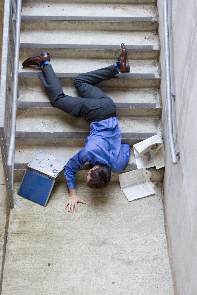 A man falling down the stairs