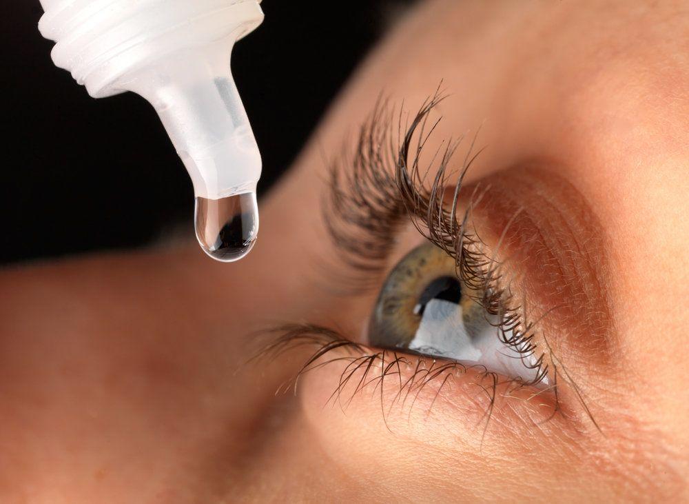 an eye receiving drops