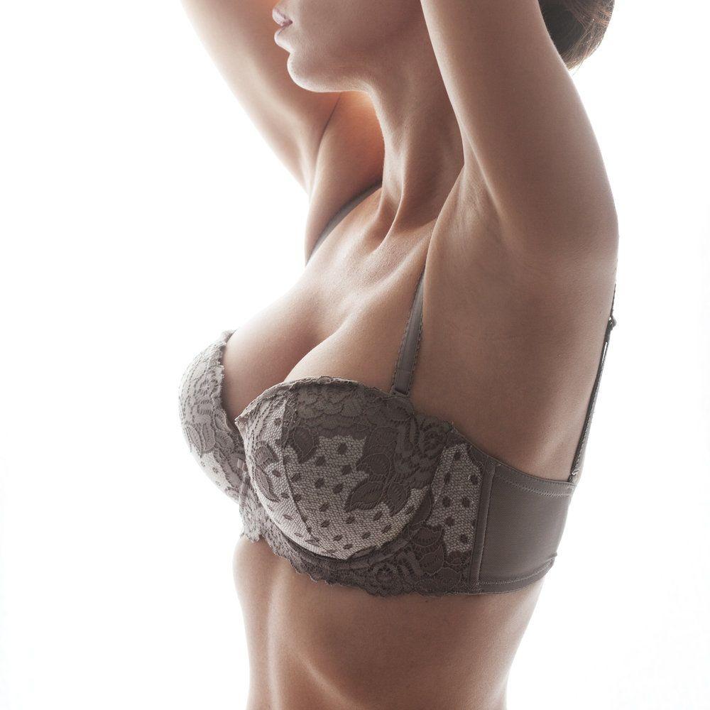 A woman wearing a bra