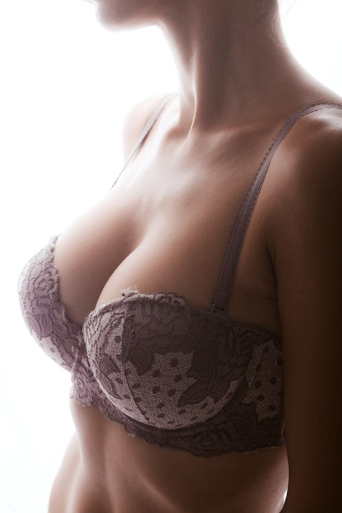 A woman in a bra