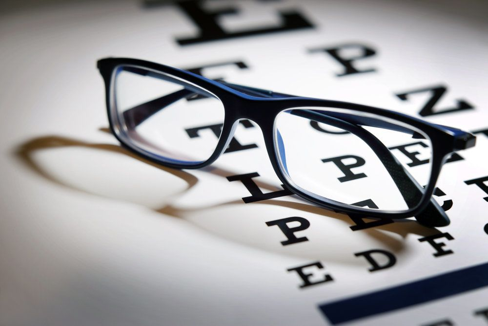 A pair of eyeglasses on an eye chart