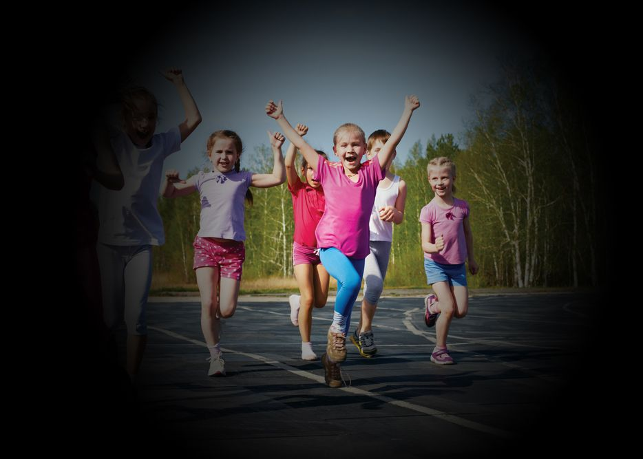 Image of running children shows effects of peripheral vision loss