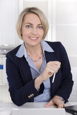 A woman in a business suit